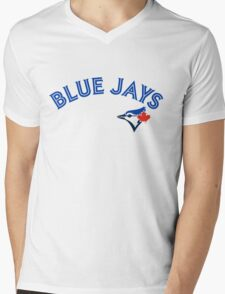Toronto Blue Jays Wordmark with logo Mens V-Neck T-Shirt