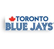 Toronto Blue Jays Wordmark with Canada maple leaf Canvas Print