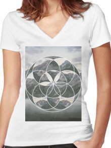 Mountain scape Geometric Collage Women's Fitted V-Neck T-Shirt