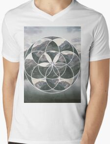 Mountain scape Geometric Collage Mens V-Neck T-Shirt