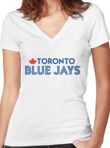Toronto Blue Jays Wordmark with Canada maple leaf Women's Fitted V-Neck T-Shirt