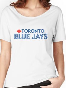 Toronto Blue Jays Wordmark with Canada maple leaf Women's Relaxed Fit T-Shirt