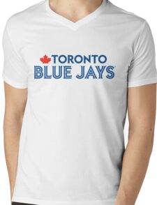 Toronto Blue Jays Wordmark with Canada maple leaf Mens V-Neck T-Shirt