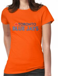 Toronto Blue Jays Wordmark with Canada maple leaf Womens Fitted T-Shirt