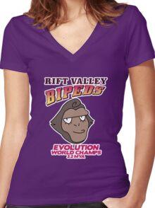 Rift Valley Bipeds Women's Fitted V-Neck T-Shirt