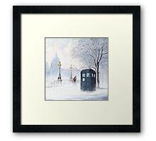 Tardis Snow Romantic Winter Framed Print