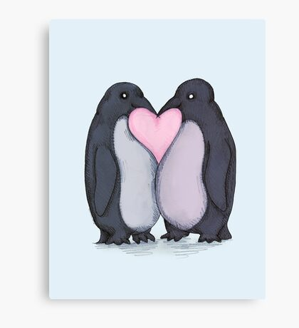Penguin Kisses  Canvas Print
