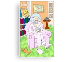 cancer woman relaxing at home with a cuppa Canvas Print