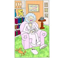 cancer woman relaxing at home with a cuppa Photographic Print