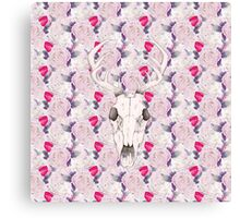 Floral Deer Skull Canvas Print