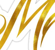Letter M Initial Gold Faux Foil Metallic Glitter Monogram Isolated on White Background Sticker