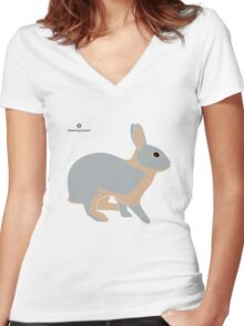 lilac tan rabbit Women's Fitted V-Neck T-Shirt