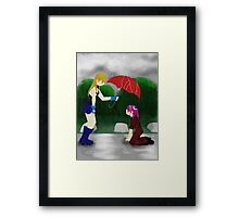 An Umbrella in the Rain Framed Print