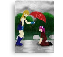 An Umbrella in the Rain Canvas Print
