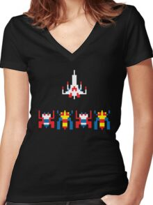 Galaga Game Women's Fitted V-Neck T-Shirt