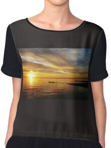 Golden Sunset at Brighton Beach Chiffon Top