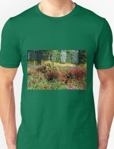 Garden with many colorful flowers. T-Shirt