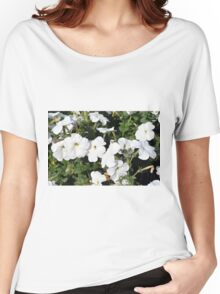 White flowers in the green bush. Women's Relaxed Fit T-Shirt