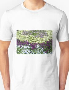 Rows of colorful flowers in the park. T-Shirt