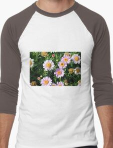 Beautiful light pink flowers natural background. Men's Baseball ¾ T-Shirt