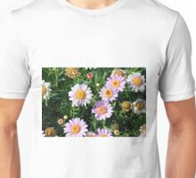 Beautiful light pink flowers natural background. Unisex T-Shirt