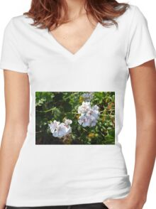 White flowers in the green bush. Women's Fitted V-Neck T-Shirt