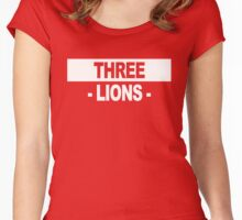 "Team England: ""THREE LIONS"" (dark shades) Women's Fitted Scoop T-Shirt"