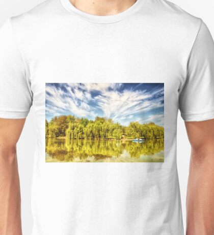 Surreal park with green trees reflected in the water. Unisex T-Shirt