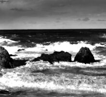 Black and White Waves Crashing into the Beach in HDR Sticker