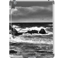 Black and White Waves Crashing into the Beach in HDR iPad Case/Skin
