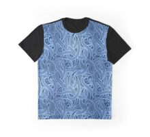 Funky Blue Abstract Paisley Pattern Graphic T-Shirt