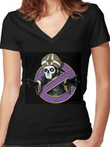 ghost bc black cartoon Women's Fitted V-Neck T-Shirt