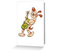 Rocker dog playing electric guitar Greeting Card