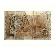 Vintage Dyed Fabrics on a Collaged Background Art Print
