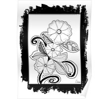 Zentangle Flowers Poster