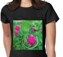 Peony Rain Drop  Womens Fitted T-Shirt