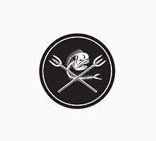 Skull Mahi Mahi Dolphin Fish Crossed Spears Circle Retro Unisex T-Shirt