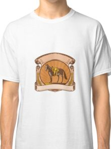 Horse Western Saddle Scroll Woodcut Classic T-Shirt