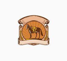 Horse Western Saddle Scroll Woodcut T-Shirt