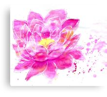 Lotus Flower Watercolor Canvas Print
