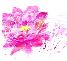 Lotus Flower Watercolor Photographic Print
