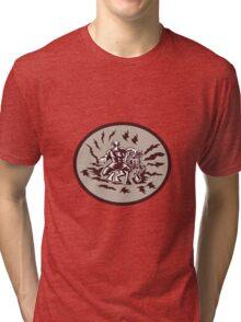 Tiitii Wrestling God of Earthquake Circle Woodcut Tri-blend T-Shirt