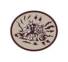 Tiitii Wrestling God of Earthquake Circle Woodcut Photographic Print
