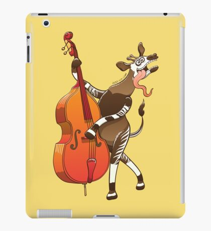 Cool Okapi Playing a Double Bass iPad Case/Skin
