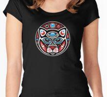 Cat Shamanic Animal Emblem Women's Fitted Scoop T-Shirt