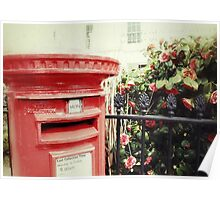 Postbox and Camellias Poster
