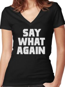Pulp Fiction - Say What Again Women's Fitted V-Neck T-Shirt