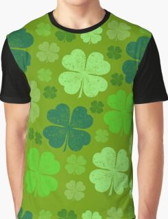 Saint Patrick's Day, Four Leaf Clovers - Green Graphic T-Shirt