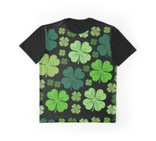 Saint Patrick's Day, Four Leafed Clovers - Green Graphic T-Shirt