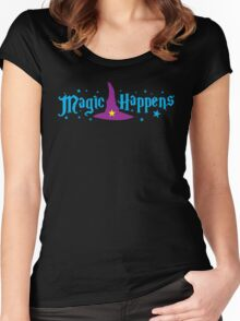 Magic Happens with witches hat Women's Fitted Scoop T-Shirt